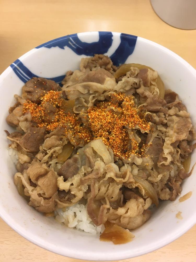 Beef bowl at Matsuya