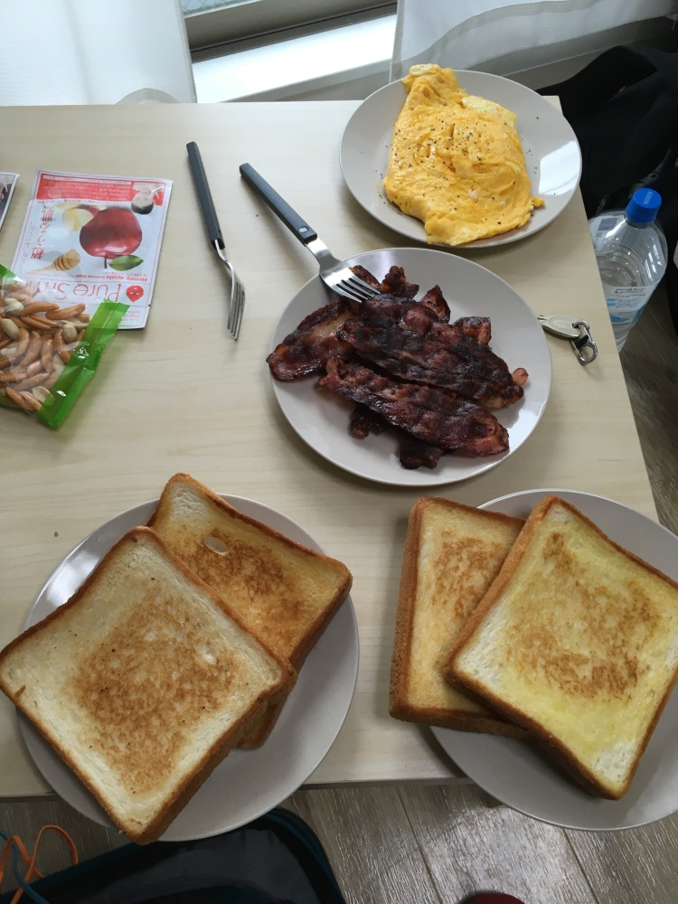 bacon, eggs, and toast in Osaka, Japan